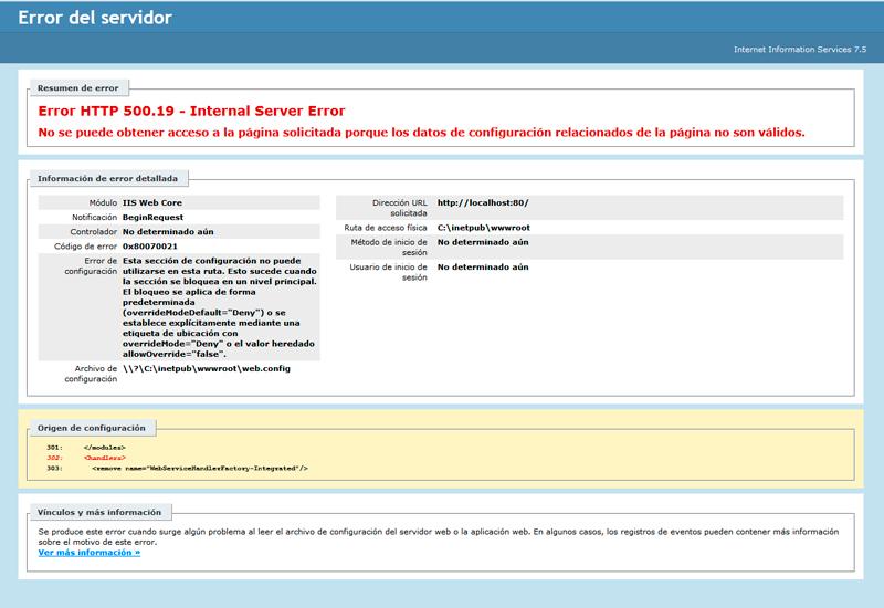 Error HTTP 500.19 - Internal Server Error