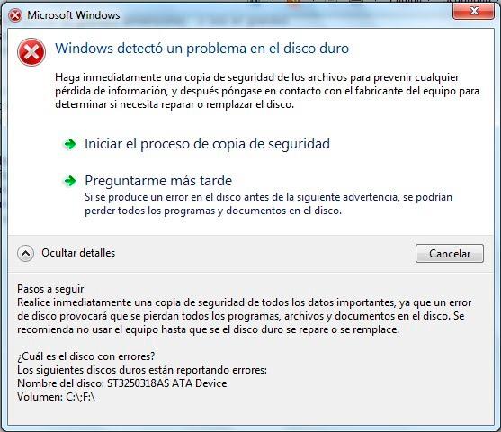 Windows detectó un problema en el disco duro