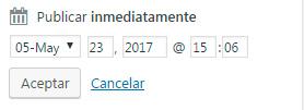 Seleccionar fecha - Programar la publicación de entradas en WordPress