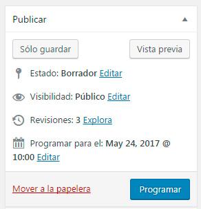 Boton Programar - Programar la publicación de entradas en WordPress